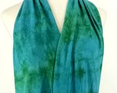 Infinity Scarf in Rich Blues and Greens, Bamboo Jersey Scarf, Hand Dyed Scarf, Neck Wrap