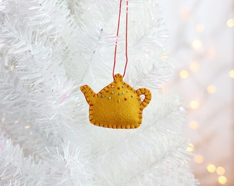 Teapot Ornament, Handmade Christmas Ornament, Holiday Decoration, Christmas Decor, Hand-stitched, hostess gift, ready to ship