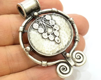 Antique Silver Tribal Pendants Ethnic Pendant (54x40mm) Antique Silver Plated G6681