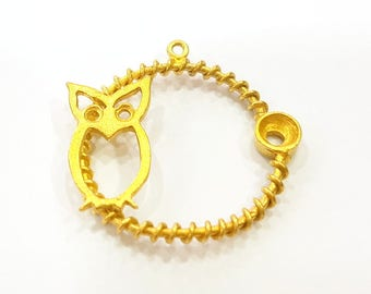 Raw Brass Owl Charms 22mm G7328