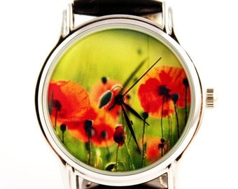ON SALE 30% OFF Poppy poppies colorful ladies watch, gift idea for girl, flowers watch