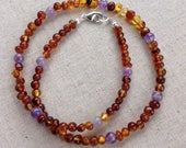 Baltic Amber and Amethyst necklace - calming - emotional balance - reduce pain and inflammation