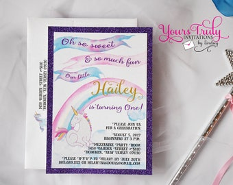 Sample - Watercolor Unicorn and Rainbow Birthday Party invitation with glitter purple or pink backing