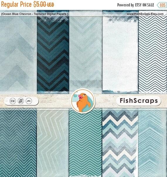 75% SALE Blue Chevron Digital Paper, Shabby Chic Textured Background Papers, Navy Blue Scrapbook Paper, Ocean Blue Sky, Modern