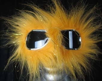 Monster Dust Goggles   Great fur Burning Man -Furry Aviator Goggles - Fur Motorcycle Goggles - YELLOW  Faux Fur