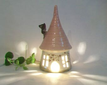 Garden Fairy House/ Night Light - with a Pink  Roof and a Chimney - Hand Made on Pottery Wheel - Hand Painted Vine - Ready to Ship