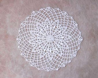 Elegant White Lace Crochet Doily, Spring Decor, Table Accessory, Weddings, New