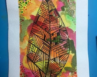 Leaf on Colorful Background