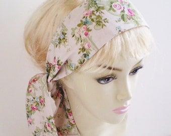 Pale Pink Rose Head Scarf, Cottage Rose Head Scarf, Cottage Chic Head Scarf, Rose Head Scarf