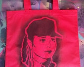 Janet Jackson art tote bag stencil and spray paint art by Rainbow Alternative on Etsy