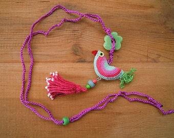 green pink crochet bird necklace with tassel, cotton