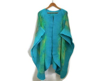 silk poncho with felted edges, turquoise lime