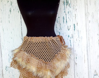 Skirt, steampunk, Nidalee, tribal, wild,cosplay, dance, wrap skirt, faux fur, net,cosplay, Nidalee,tatter punk , brown, faerie,ruffles