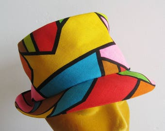 Vintage 50s 60s Mod Hawaiian Happy Cappers Color Block Fedora Hat