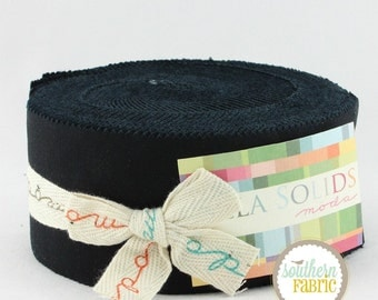 Bella Solids Black 9900JR 99 by Moda- Quilt Fabric Strips - 1 Jelly Roll