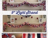 Red White & Blue Garland, 4th of July Lights, July 4th decor, Fabric Garland, Military Decor, Garland Lights, Rag Garland, Holiday Garland