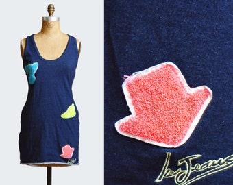 Vintage 90s Patch Appliqué Mini Dress CRISS CROSS Open Back Iceberg Jeans / 1990s Blue Denim Sleeveless Backless Medium