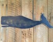 Wooden Whale Navy Blue Wall Art Indoor Ocean Beach Decoration