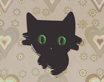 BLack Cat brooch, Pinback, creepy cute, cat lover, Halloween cat pin, spooky Pinback