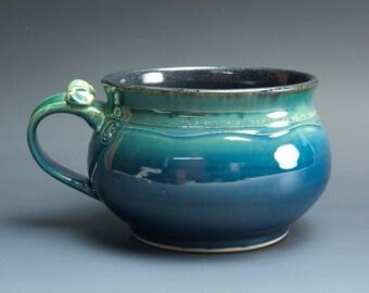 Handmade pottery soup mug ceramic chili mug glossy blue cereal bowl 24 oz  3581
