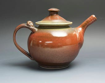 Handmade teapot stoneware tea pot variegated green and iron red 32oz 3991