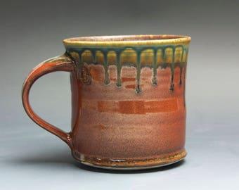 Handmade pottery coffee mug, ceramic mug, stoneware tea cup 14 oz mug deep glossy tangerine red flake  4009