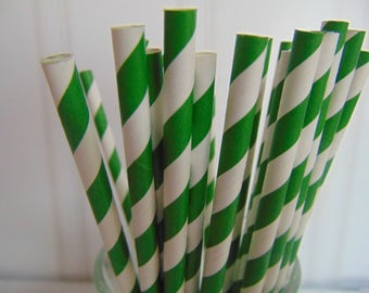 Paper Straws, Party Straws, Green Striped Straws, Green stripe party straws, Fun Straws