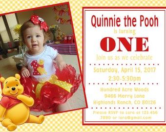 Winnie the Pooh  PDF invitation - 1st birthday, baby shower, Disney,  birthday invitation
