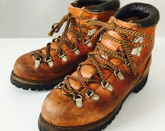 40% OFF SALE Vintage Leather Hiking Boots / Size 7 Woman's Irish Setter Mountain Sport Boots / Made in AMERICA  High Quality Leather Treaded