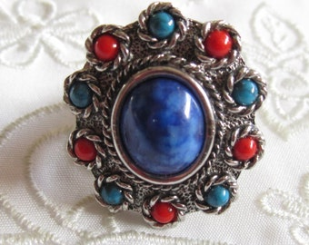 Vintage Sarah Coventry Silver Tone Ring with Faux Stones of Coral, Turquoise and Blue Lapis Lazuli