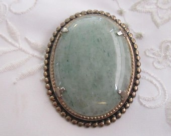 Vintage Gold Tone Large Oval Brooch with Green/Blue Agate