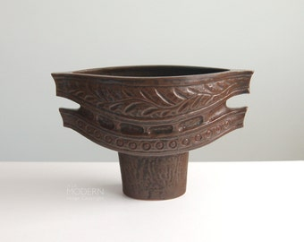Japanese Modern Ceramic Ikebana Raised Pedestal Boat Planter Vase