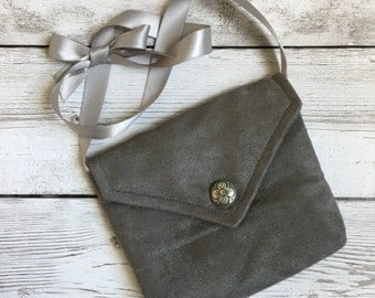 Girls purse cross body bag gray messenger bag toddler handbag grey shoulder bag