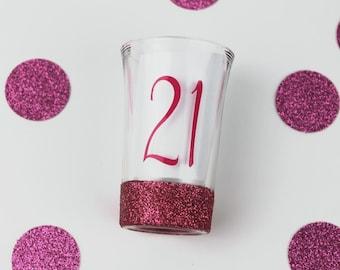 Birthday Shot Glass - Glitter Shot Glass - 21st Birthday Shot Glass - 21st Birthday Gift - Gift for Her - Custom Shot Glass - Gifts Under 10