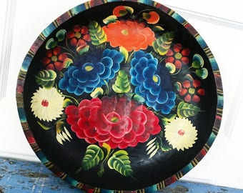 Large Vintage Mexican Batea Painted Wood Bowl Platter Tray Bright Flowers