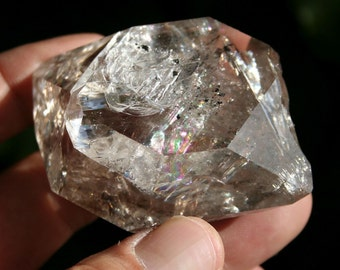 Smokey Herkimer Diamond from New York Quartz Crystal Cluster Specimen with Huge Rainbow