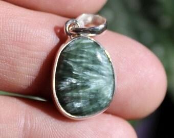 Seraphinite Pendant Set in Sterling Silver