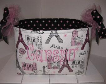 10 x 10 x 7 Large Diaper Caddy / Organizer Bin - Black Pink Silver Glitter Paris/ Polka Dots - Personalization Available