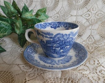 English Village Pattern Blue Transferware Cup and Saucer Vintage at Quilted Nest