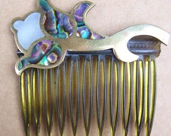 Vintage hair comb Mexican abalone shell hair flower shape accessory hair slide hair clip hair jewelry hair ornament headpiece headdress (A)