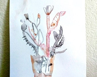 Potted Prickly- Watercolor Original- 11x15- Cacti Abstraction