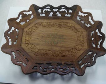 folk art wood tray, handcarved wood tray, intricate carved tray, inlaid wook tray