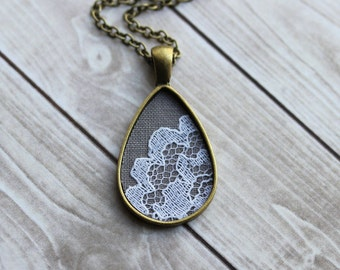 Tear Drop Necklace, Unique Jewelry For Women, Cotton, Anniversary Gift, Victorian Necklace, Gray White Teardrop Pendant, Elegant, Lace