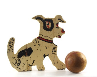 Vintage Wood Cut Out, Wooden Door Stop, Folk Art Dog, Quirky Home Decor