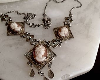Art Nouveau Sterling & Cared Shell Cameo Necklace