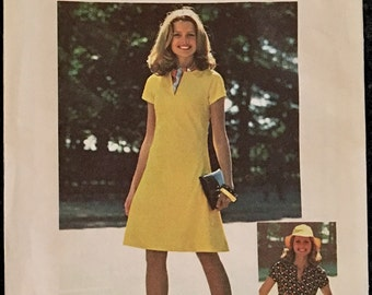 70s Simplicity 6873 Dress Bust 36 38 Size 14 and 16 Mini Slash Collar Summer Jiffy Knits Easy Uncut