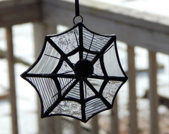 Stained Glass Spider Web and Spider Sun Catcher
