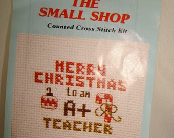 1980s Counted Cross Stitch Merry Christmas To an A Plus Teacher Heart Ornament.