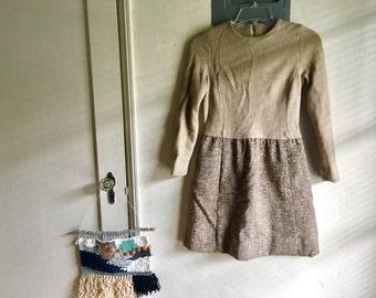 Vintage brown wool dress size S