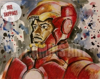 IRONMAN MARVEL PRINT watercolors painting,free shipping, comics prints, comic art, civil war prints, marvel comics posters, captain america
